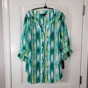 NWT ALYX Geometric Green Button-Up Blouse